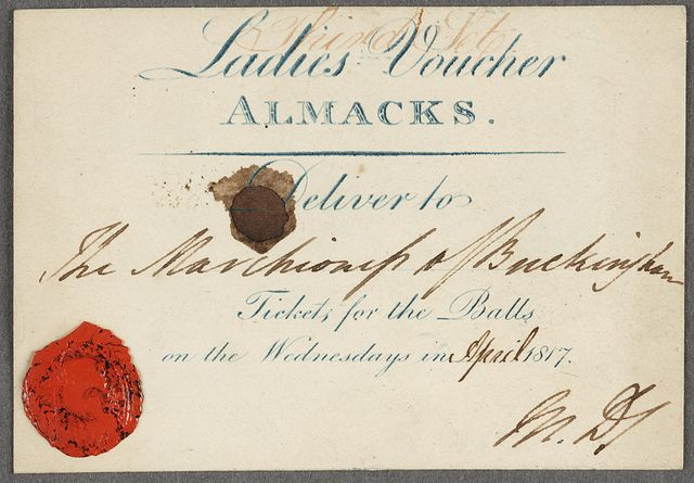 A coveted voucher for Almacks' Assembly Rooms