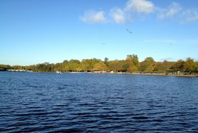 Looking out across the Serpentine