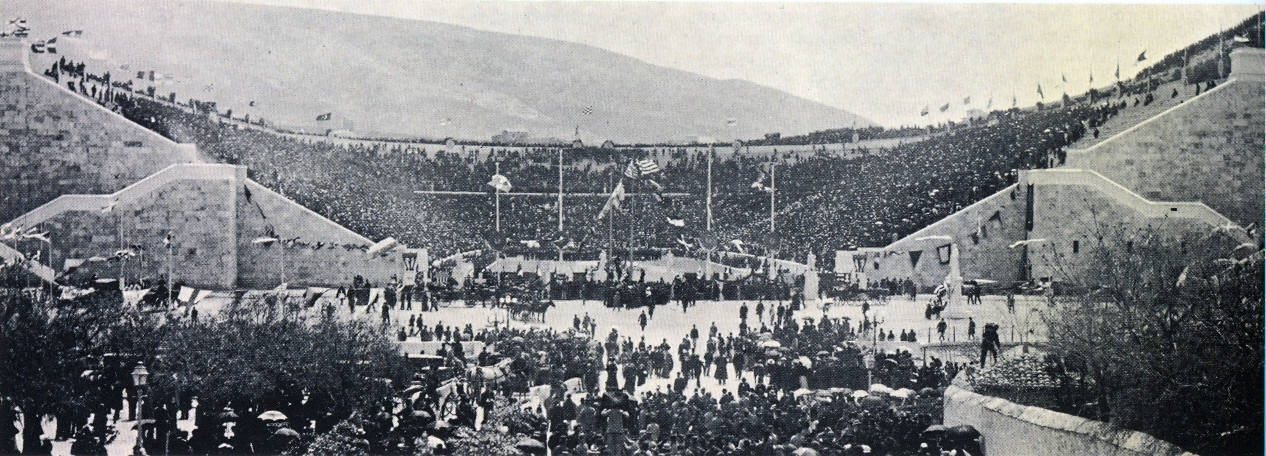 Panathenaic Stadium. Olympic Opening Day 1896. Public domain photo.