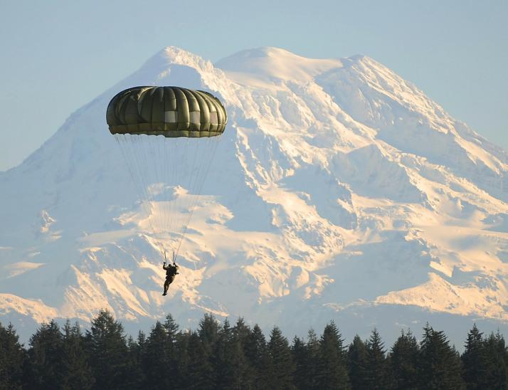 Parachutist @ Ft Lewis. Public domain photo.