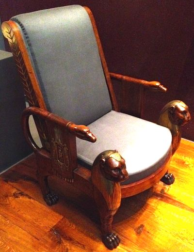 Regency chair showing the Egyptian influence common in the period