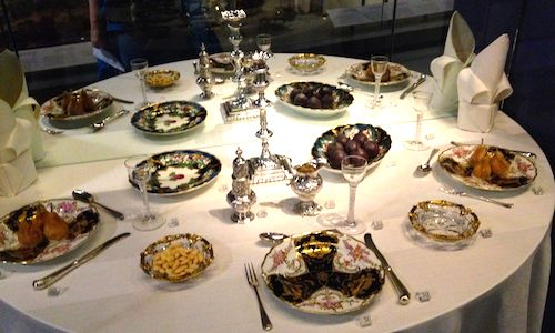 A table set for Regency dinner.