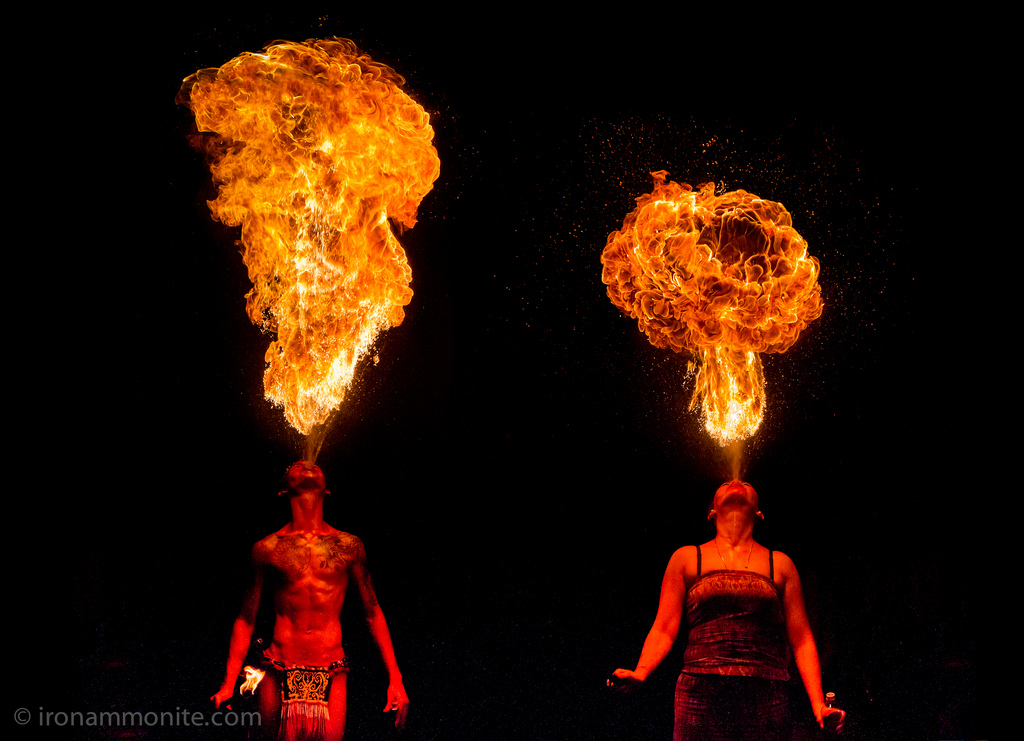 Fire breathers @ Singapore Night Safari. CC photo by Paul Williams.