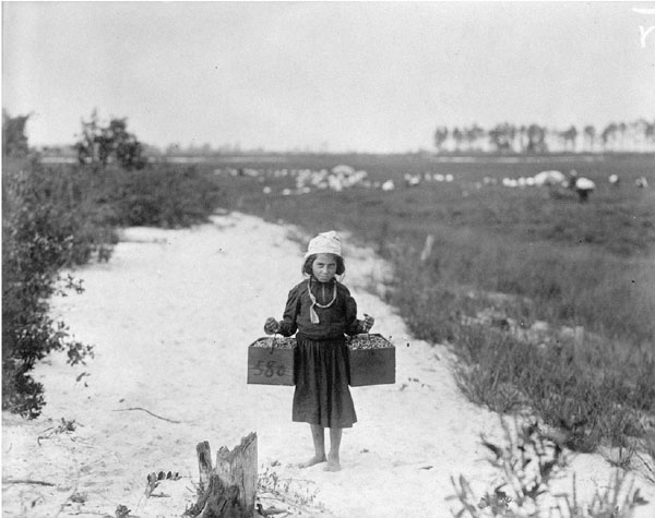 """Rose Biodo, Philadelphia, 10 years old. Working 3 summers, minds baby and carries berries, two pecks at a time."" Photo by Lewis Hine, National Archives public domain."