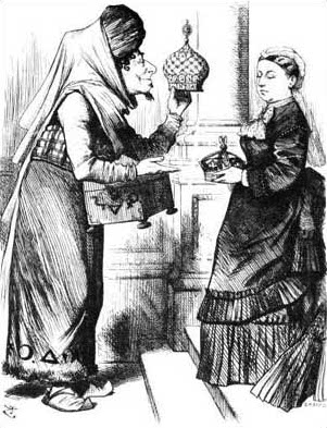 """New crowns for old ones!"" –Benjamin Disraeli presents Queen Victoria the crown of India. Punch, 1876, by cartoonist John Tenniel."