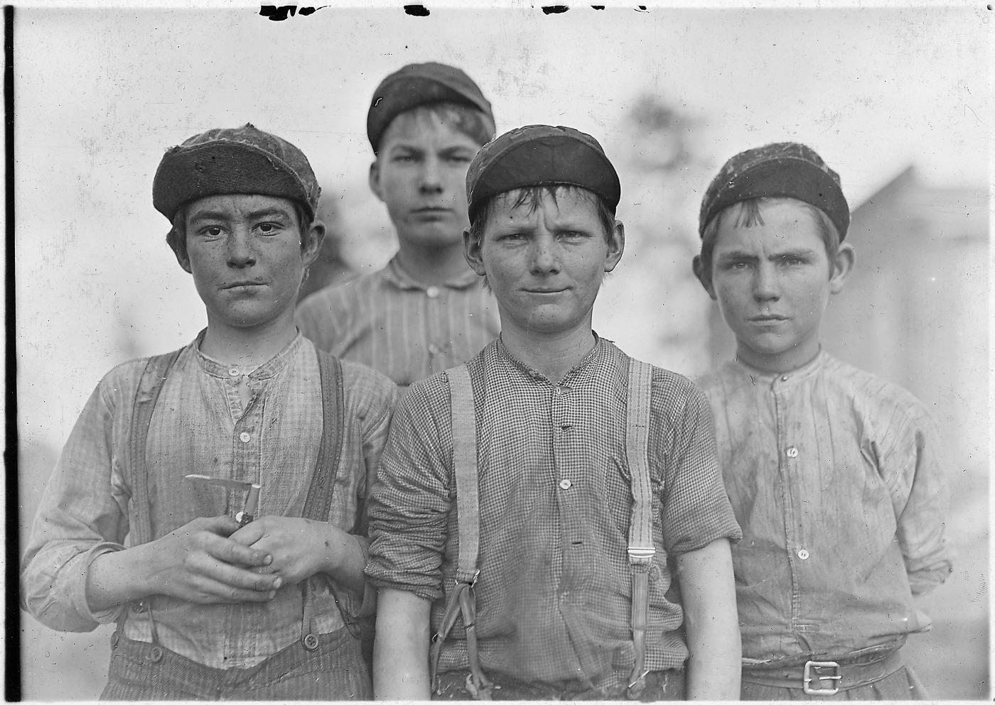 Doffer boys, Jan 1909. Public domain photo by Lewis Hine.