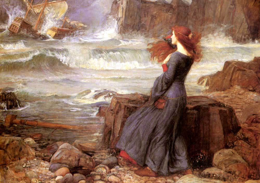 Miranda — The Tempest. Painting by John William Waterhouse, 1916. Public domain photo.