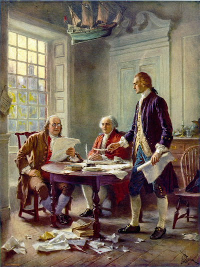 Writing the Declaration of Independence. Painting by Jean Leon Gerome Ferris (1863 – 1930). Public domain photo.