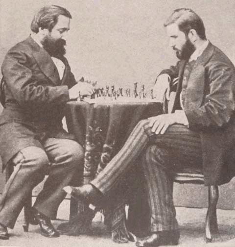 Georgian writers Ilia Chavchavadze and Ivane Machabeli playing chess, 1873 St Petersburg.