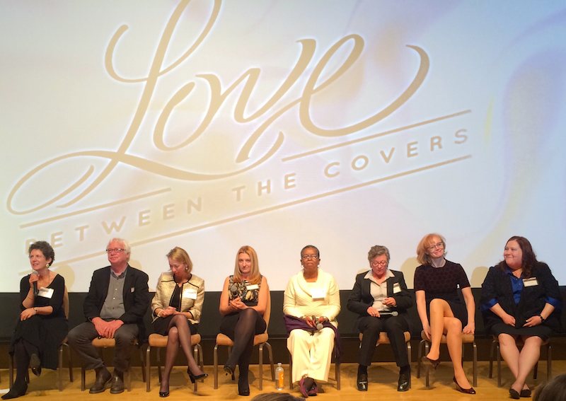 The Q&A panel at the screening of the documentary, Love Between the Covers. L to R: Laurie Kahn, William Anderson, Elizabeth Essex, Joanne Lockyer, Beverly Jenkins, Len Barot/Radclyffe, Eloisa James, and Kim Castillo