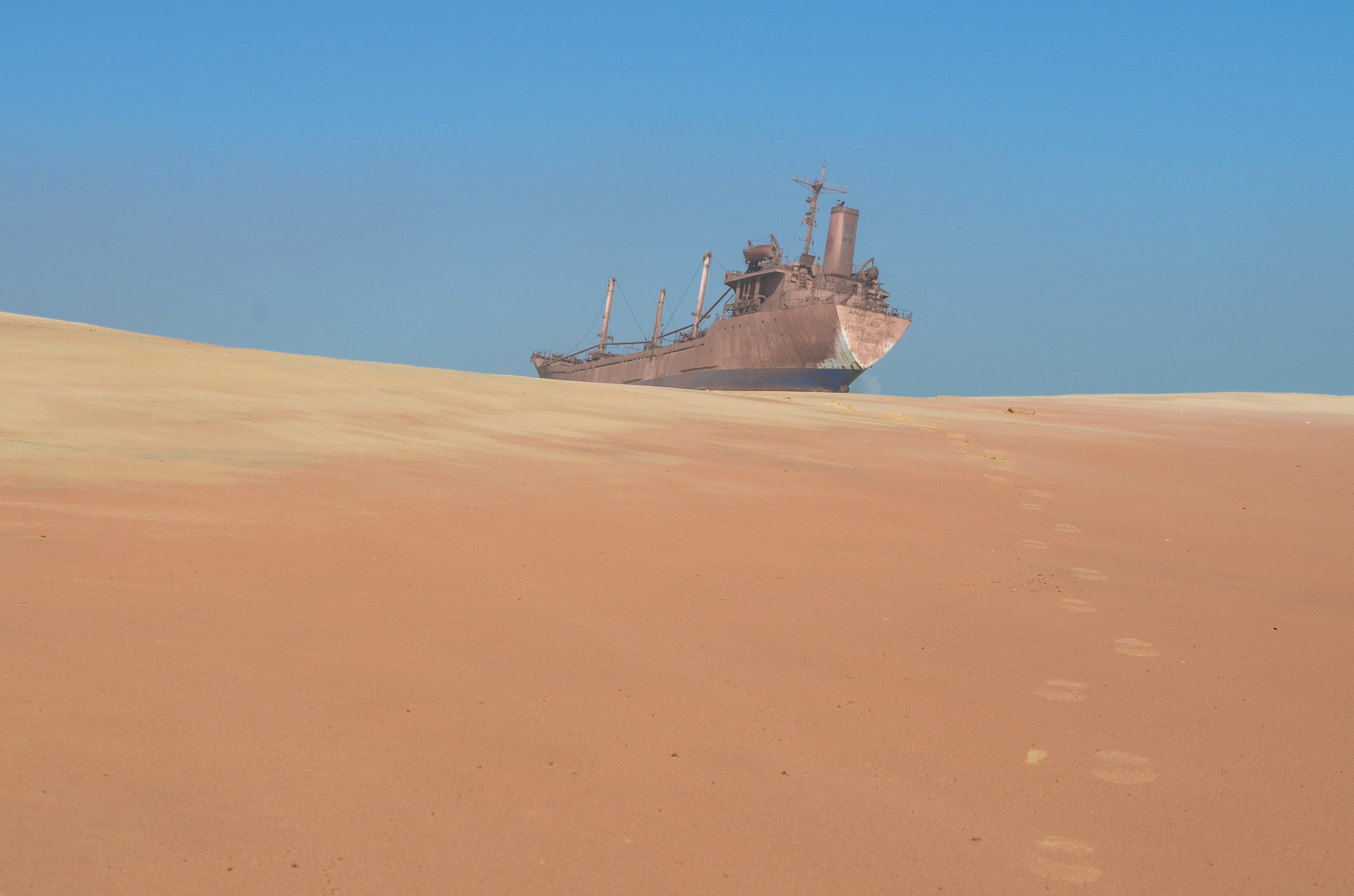 Shipwreck in the desert.