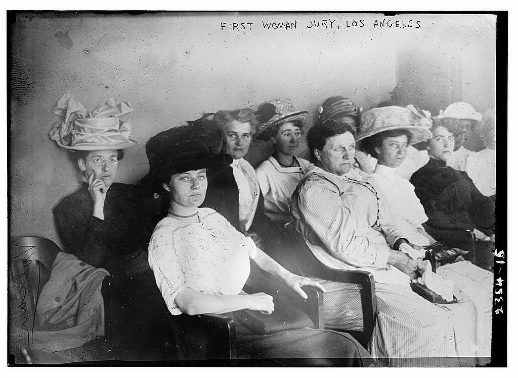 First Woman Jury, Los Angeles, Nov 1911. PD photo by Library of Congress.