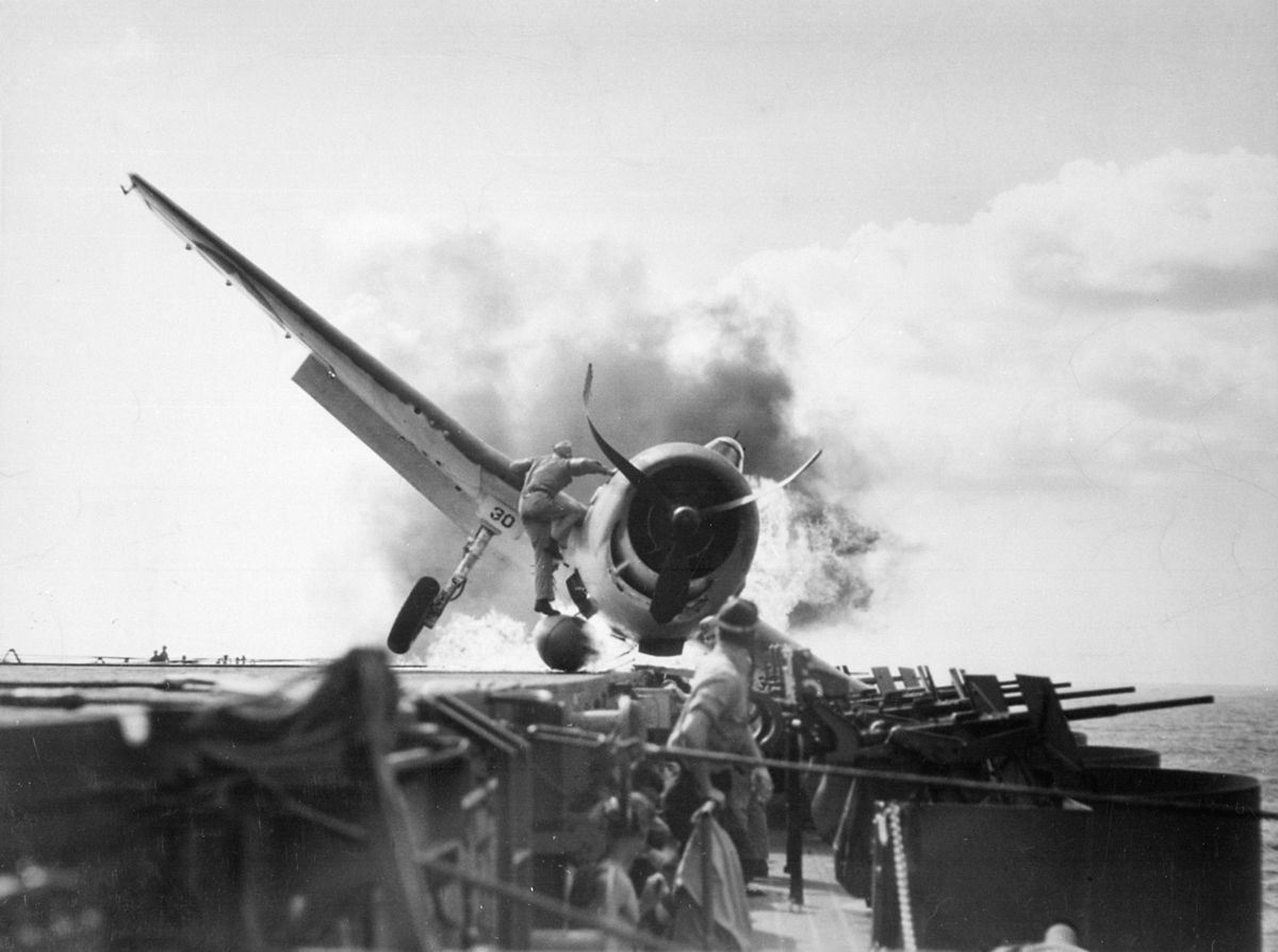 1943 crash landing on the USS Enterprise. PD photo by the US Department of Defense