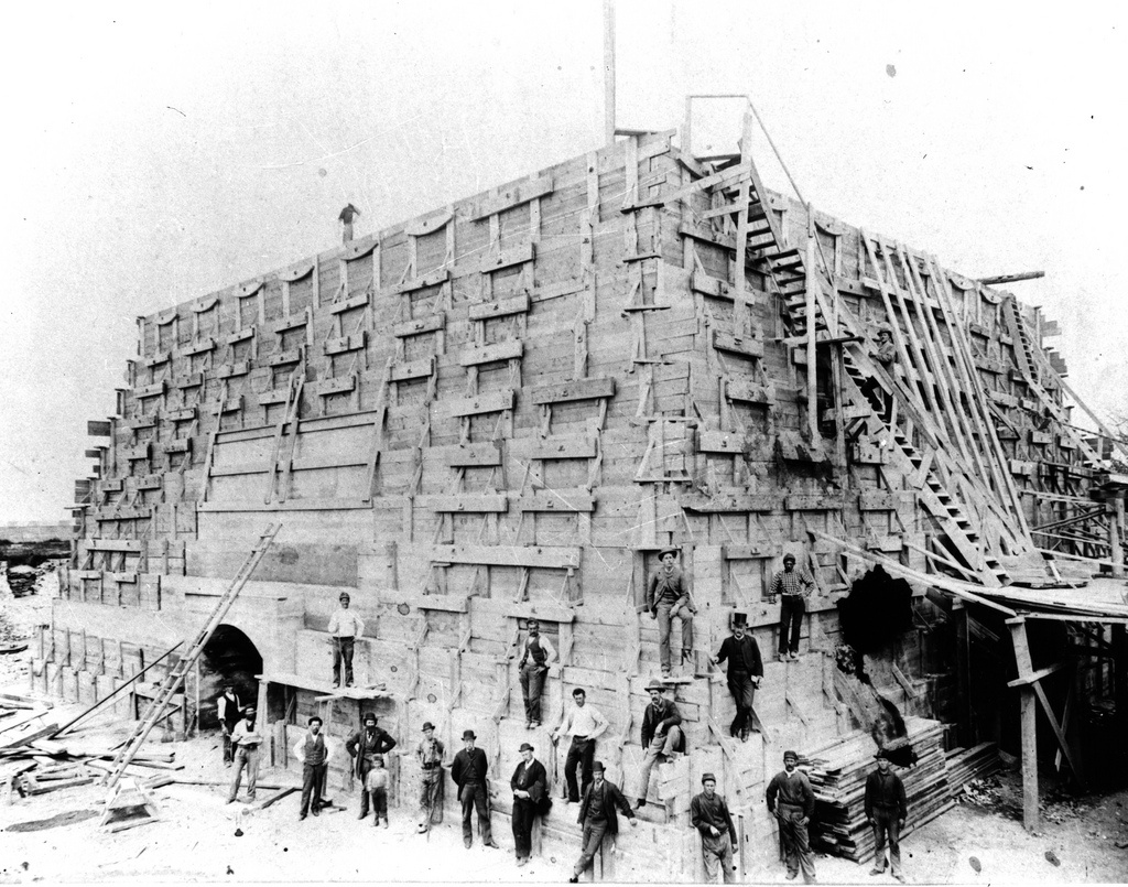 Construction of the Statue of Liberty's Pedestal. CC2.0 photo by National Parks Service, Statue of Liberty ca 1875.