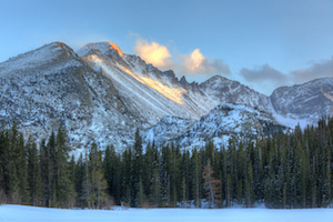 Last Light on Longs Peak from a Frozen Bear Lake