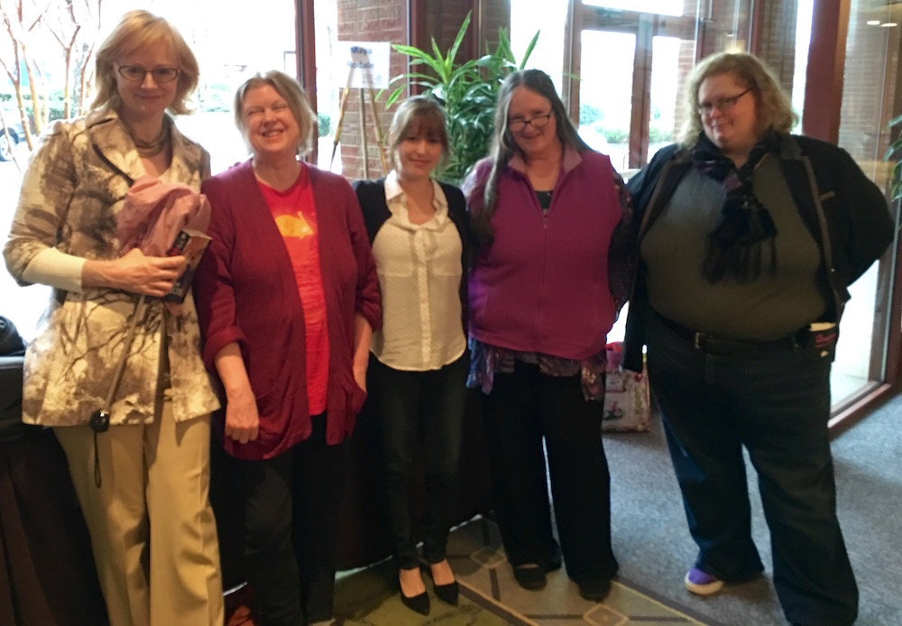 L to R: Regency romance authors Eloisa James, Joanna Bourne, Maya Rodale, Grace Burrowes, and #VaLoveFest organizer and Regency romance author, Sue London