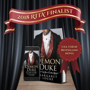 Photo of The Demon Duke book cover, with RITA Finalist above it.